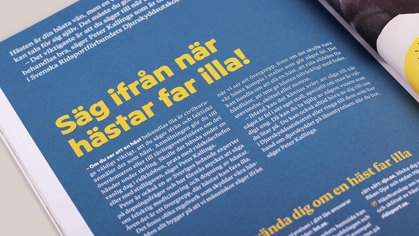 Svenska ridsportförbundet, varumärke, design. Trygg i stallet.